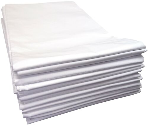King 6-Piece WHITE FLAT SHEET 200 THREAD COTTON BLEND All Sizes Queen or Full