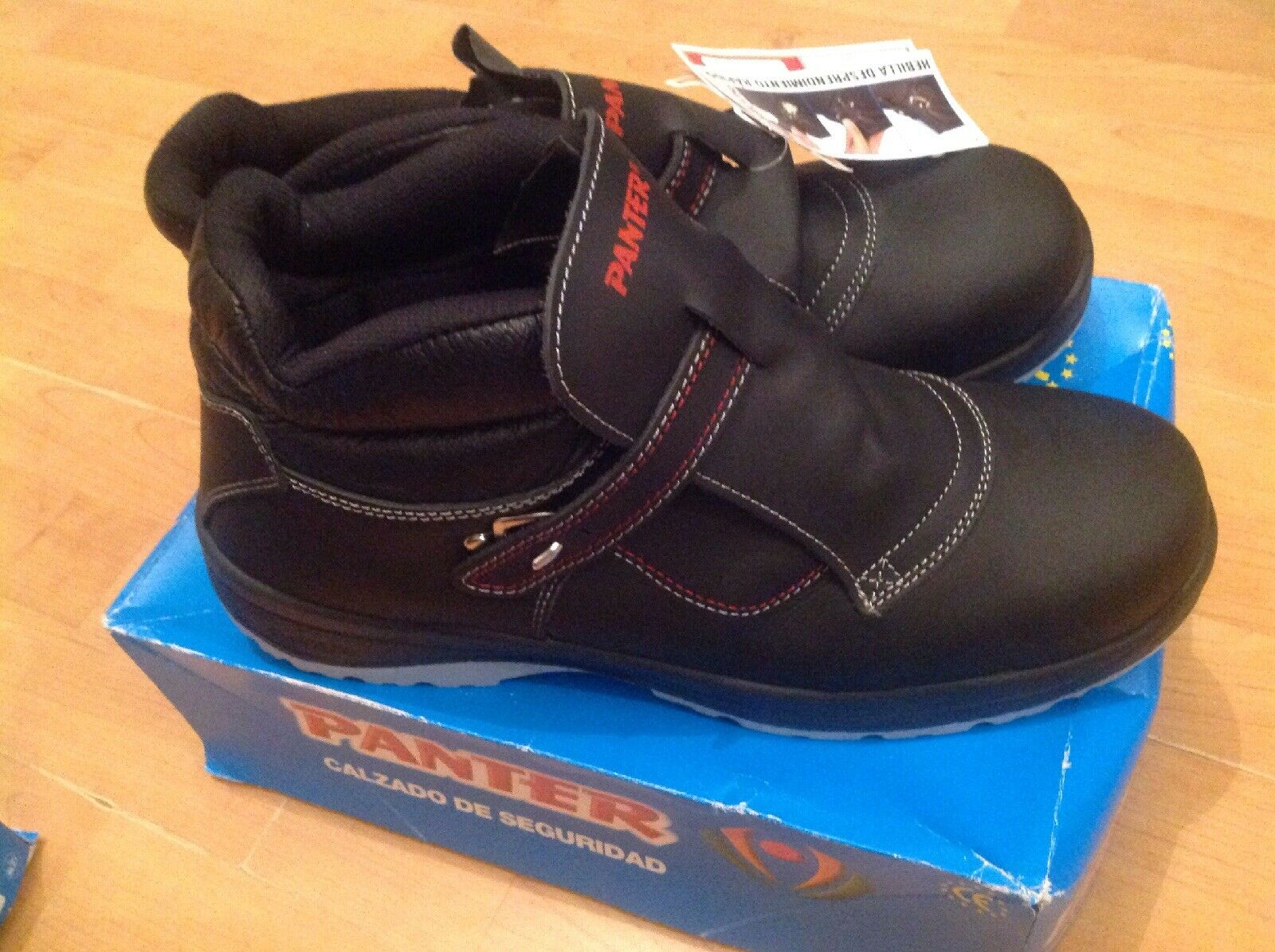 Mens Steel Toe Cap Panter Black red Boots Size 14 48 New Shop Clearance