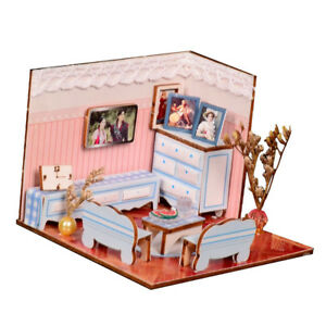 Wooden-Dollhouse-Miniatures-DIY-House-Kit-With-Furniture-Living-Room-Model