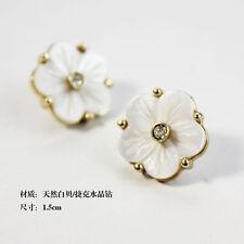 Boucle d`Oreille Clip on Puces Fleur Nacre Naturel Blanc Cristal Dor N3
