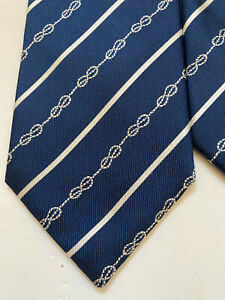 Hugh-Boss-100-Silk-tie-navy-with-stripe-amp-knotted-rope-pattern-Made-in-Italy