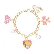 Disney Princess Charm Bracelet Gold Tone Belle Cinderella Aurora Pink Crown NWT