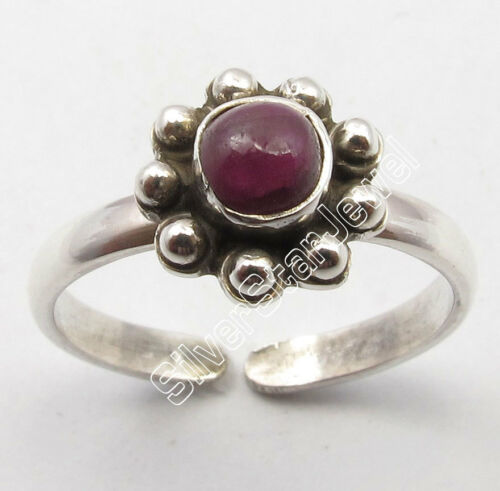 925 Stamped Pure Silver CABOCHON RUBY ANTIQUE STYLE Adjustable TOE RING OXIDIZED