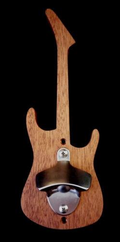 Buddy Blaze Shredder Mahogany Wood Guitar Shaped Wall Mount Bottle Opener