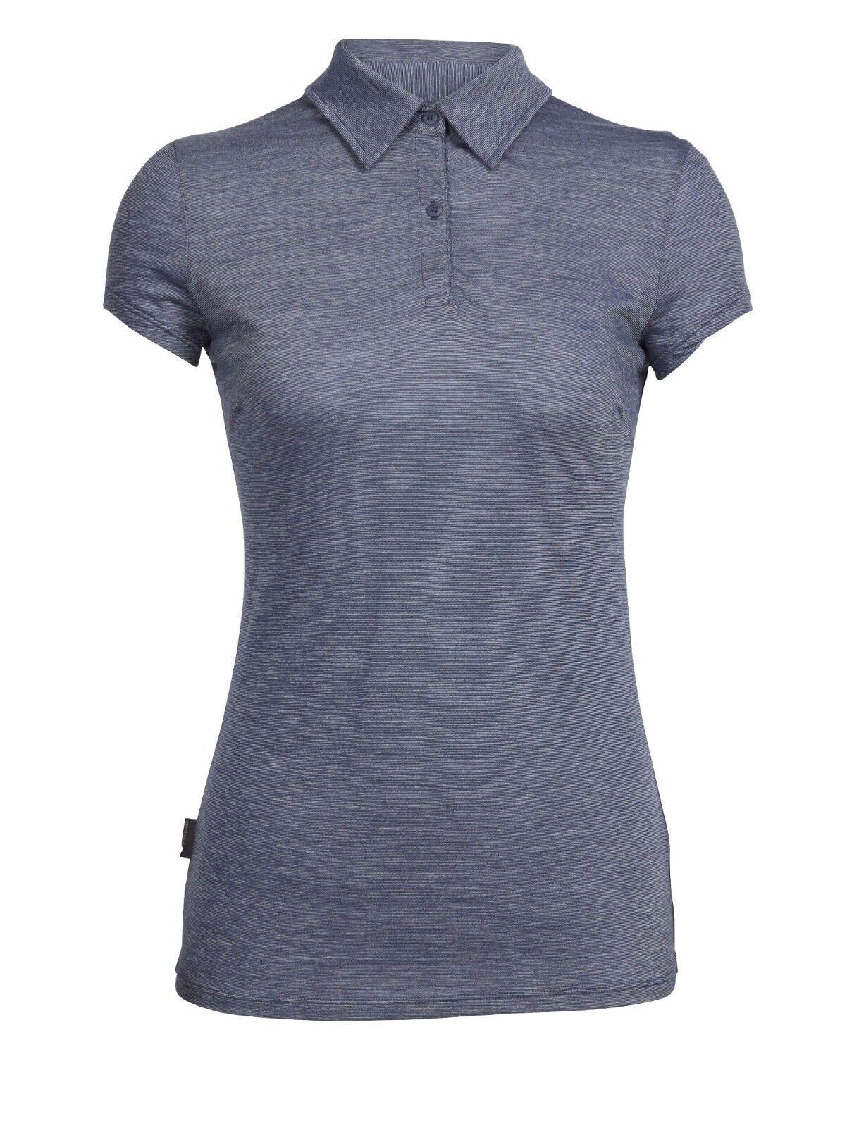 Icebreaker Cool-Lite Sphere Short Sleeve Polo Stripes Damen Shirt Merino Wolle