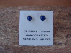 Native-American-Sterling-Silver-Lapis-Dot-Post-Earrings-Navajo-Indian