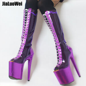 Details about  /Stiletto Super High Heel Platform Over Knee High Boots Women Black Club Shoes sz