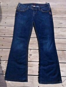 Silver-29-034-X-31-034-TUESDAY-Low-Rise-Dark-Wash-Womens-Flare-Distressed-Jeans