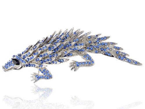 Dangereux Bleu Cristal Strass Crocodile Fashion Costume Jewelry Broche