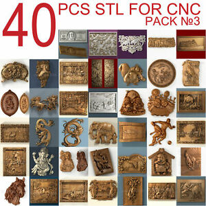 40 pcs set #3 3d stl models  for CNC Router Artcam Aspire