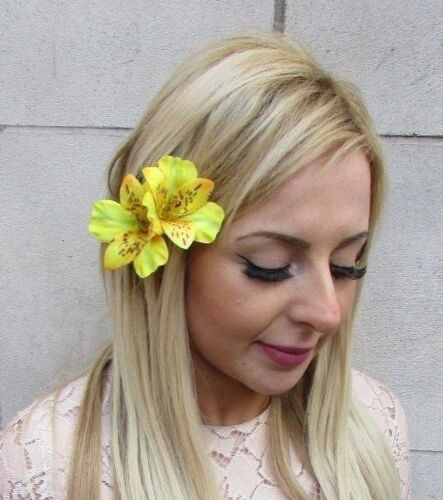 Double Yellow Amaryllis Lily Flower Hair Clip Rockabilly 1950s Fascinator 5239