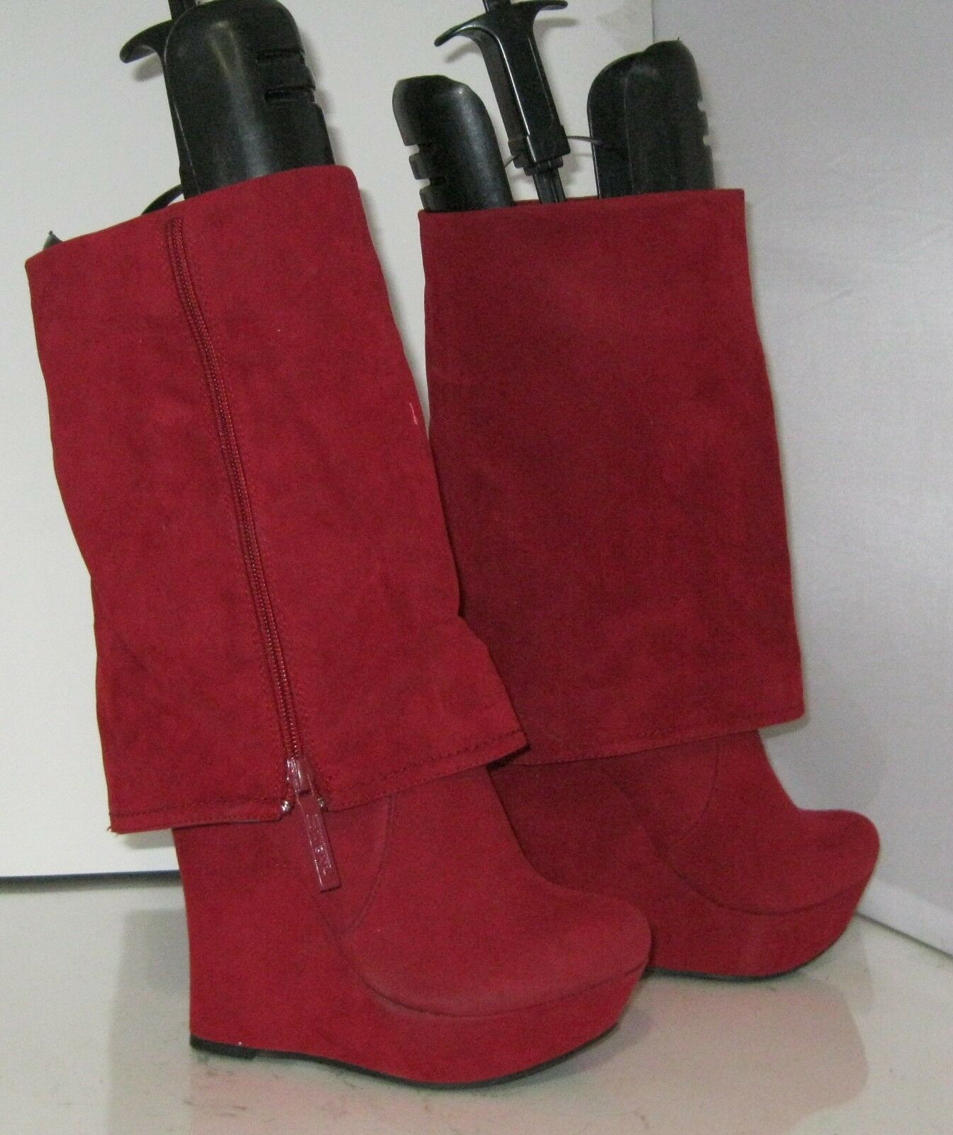 Red 5.5  High Wedge Heel 1.5  Platform Round Toe Mid-Calf Sexy Boot Size 6.5