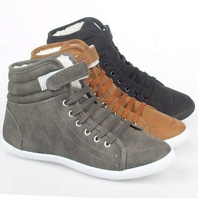 LADIES ANKLE BOOTS GIRLS NEW WOMENS HI HIGH TOPS TRAINERS SPORTS FLAT SHOES SIZE