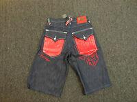 Coogi Men's Blue Denim Jean Shorts Red Leather Pocket Design $135 Retail