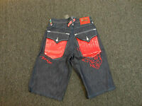 Coogi Men's Blue Denim Jean Shorts Red Leather Pocket Design $135 Retail