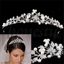 Bridal Wedding Rhinestone Crystal Pearls Flower Hair Comb Tiara T961
