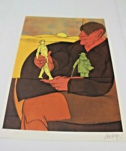 Valerio-Adami-Statuette-Color-Lithograph-Art-Print-7760-10000-Pencil-Signed