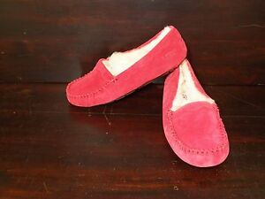4d7b1c92846 Details about New Womens UGG Scalloped Moc Jester Red Sheepskin Suede Slip  On Warm Slippers