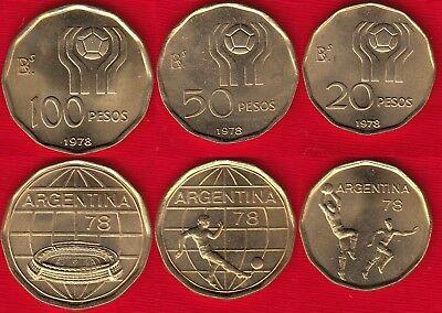 "20-100 pesos 1978 /""Soccer Argentina set of 3 coins Football/"" UNC"