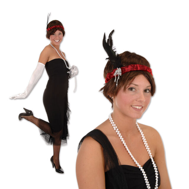 ROARING 20s Gatsby Party Costume Hair ACCESSORY FLAPPER HEADBAND Headpiece RED