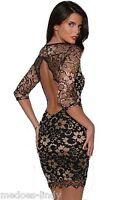 Black Gold Stretch  Backless Lace Bodycon Mini Party Dress New 8 - 14 John Zack