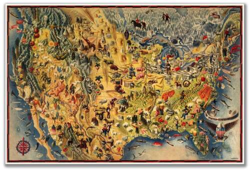 HUGE Birds Eye View Art MAP of the USA /& Mexico by Miguel Covarrubias circa 1942