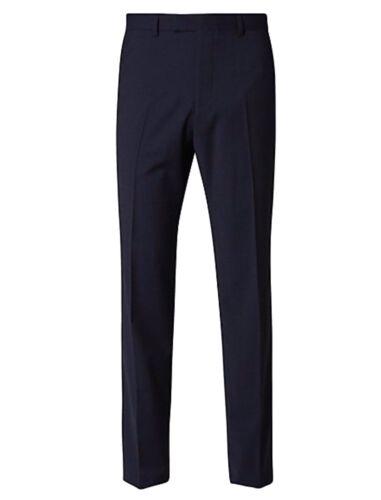 M/&S Da Uomo Merino Wool Rich supremamente alta sartoria Indaco Pantaloni 32//33 32//31