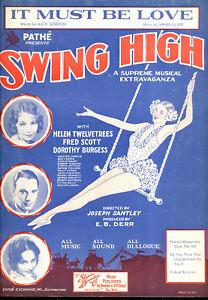 """Noten & Songbooks Swing High Notenblatt """" It Must Be Love """" Helen Twelvetrees Fred Scott D Burgess Bequem Und Einfach Zu Tragen"""