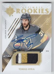2018-19-UD-ULTIMATE-TOMAS-HYKA-RC-AUTO-PATCH-99-AUTOGRAPH-ROOKIES-64-Knights