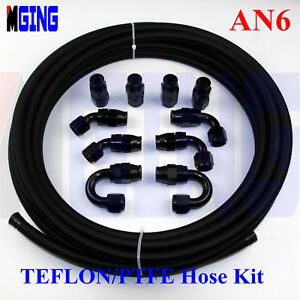 AN6-6-AN-AN-6-Teflon-Braided-PTFE-E85-Ethanol-Oil-Line-Fuel-Hose-End-Fitting-5M