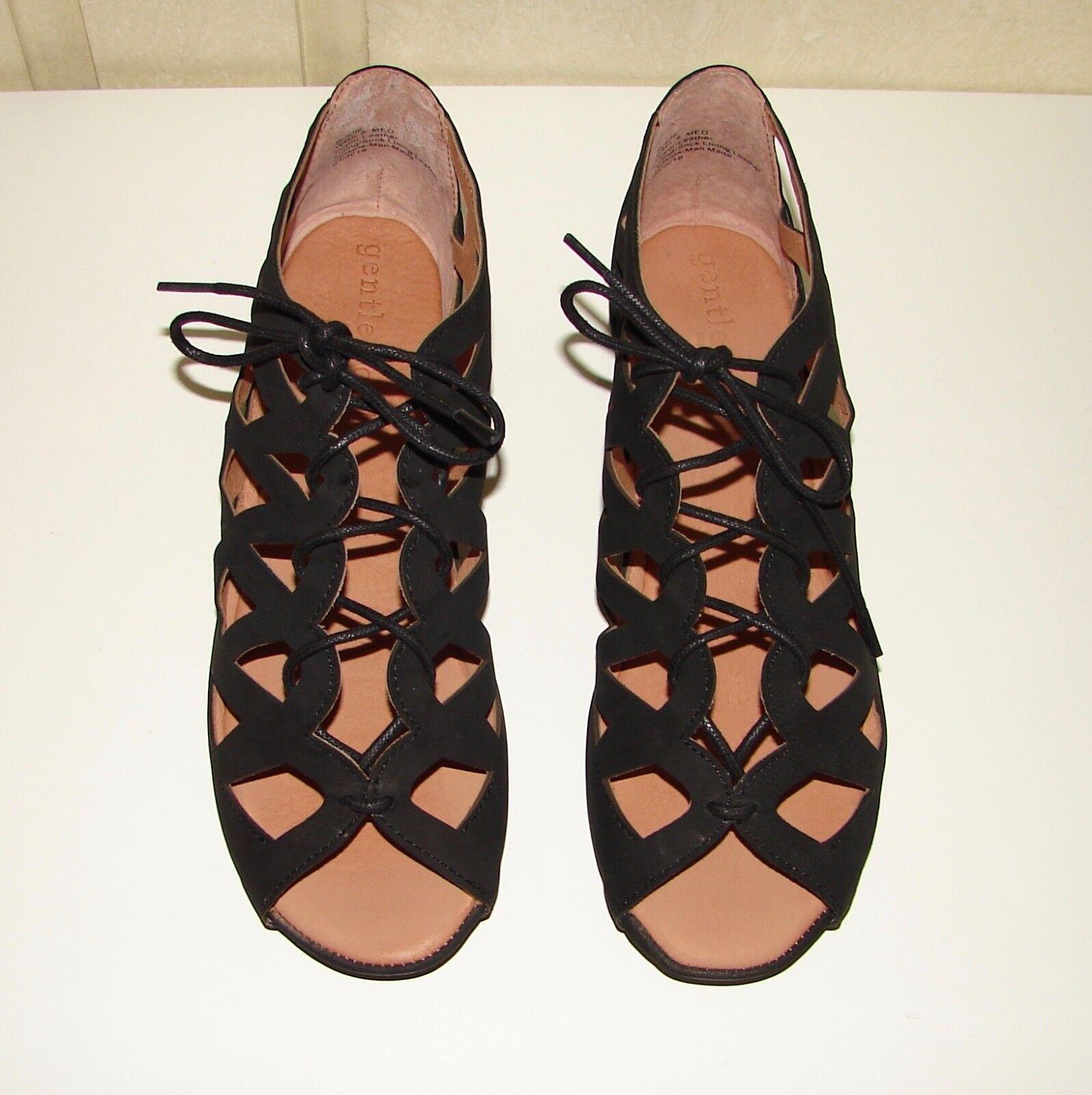 Gentle Souls sz  8 pelle nera Brielle sandali di nuova marca Neiman Marcus  seleziona tra le nuove marche come