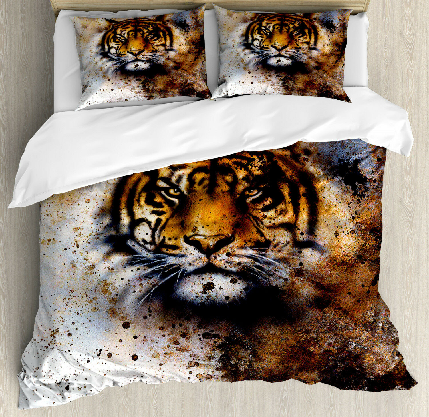 Tiger Duvet Cover Set with Pillow Shams Wild Beast Angry Prossoator Print