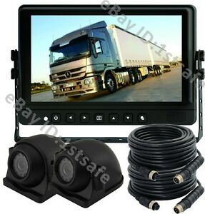 """VEISE Rear View Backup Camera Cab Video System 9/"""" LCD+2 Side View Cameras"""