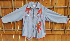 Chili Pepper Long Sleeve Western Shirt-J.C Penny-Permanent Press-Blue w/Red trim