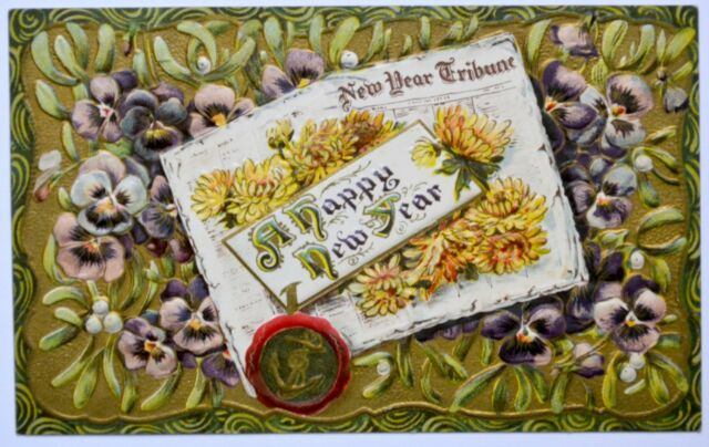 Old New year greetings postcard antique divided back embossed pansy flowers 1912