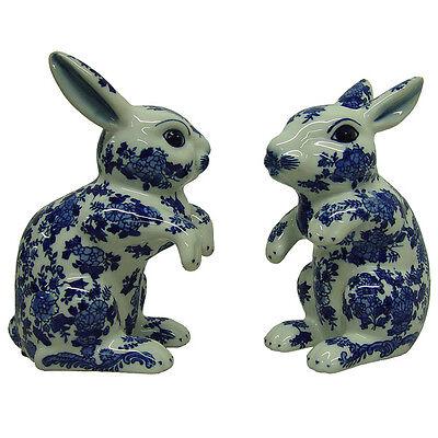 Blue and White Porcelain Rabbits (Set of 2)