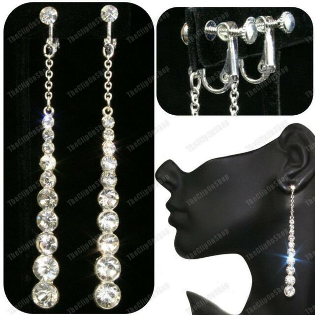"""CLIP ON 3.5""""long CRYSTAL EARRINGS glass rhinestone SCREW CLIPS silver plated"""