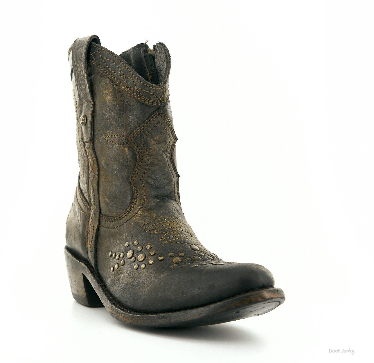 LB71116 LIBERTY BLACK COURTNEY SABLE DISTRESSED ANKLE BOOTS
