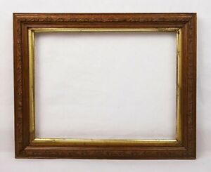 Antique-Wood-and-Gesso-Ornate-Floral-Pattern-Picture-Frame-Fits-10-5-034-x-8-034
