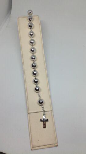 Bracciale argento unisex ROSARIO SFERE CROCE  RODIATO MM 8 MM 10