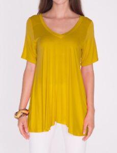 f4983dcb5b2 Mustard Yellow A-Line V-Neck Loose Tunic Top T-Shirt Blouse SML/Plus ...