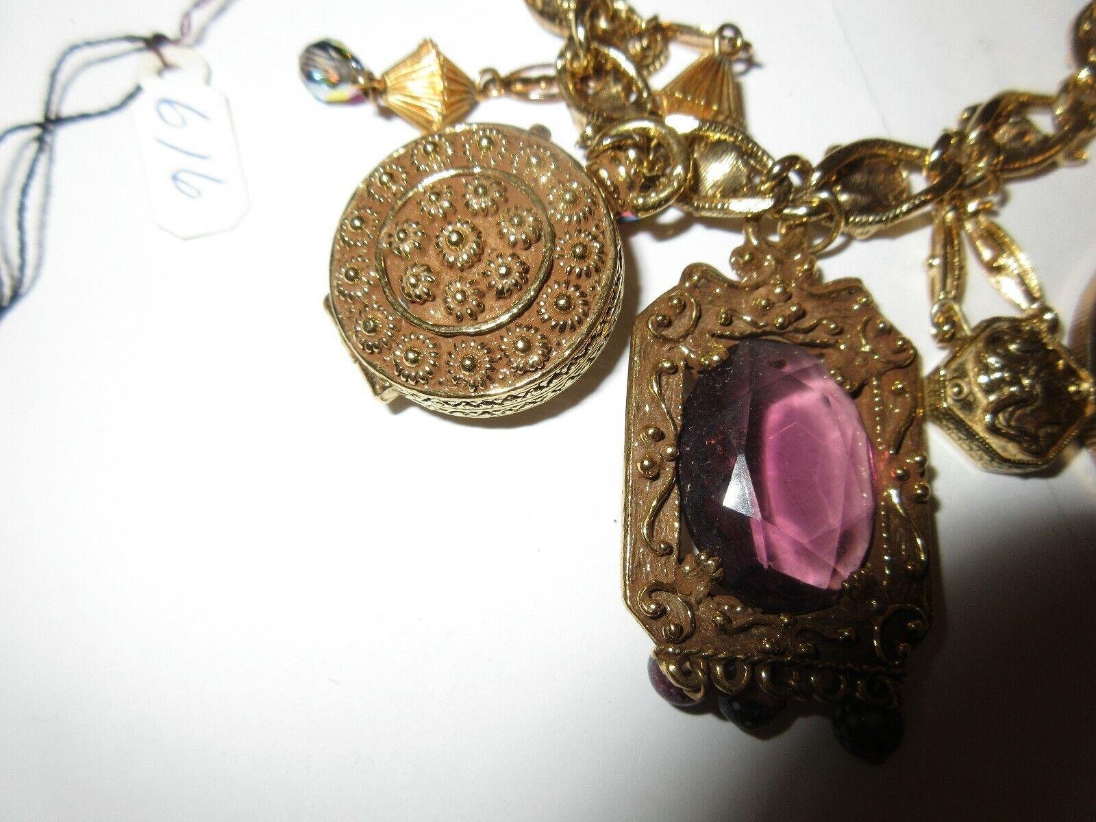 "Costume Jewelry ,Vintage , Goldette Charm Bracelet , 7"""