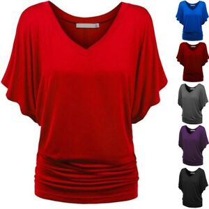 Women-Casual-Short-Batwing-Sleeve-T-Shirt-Top-Loose-V-Neck-Blouse-Tops-Plus-Size