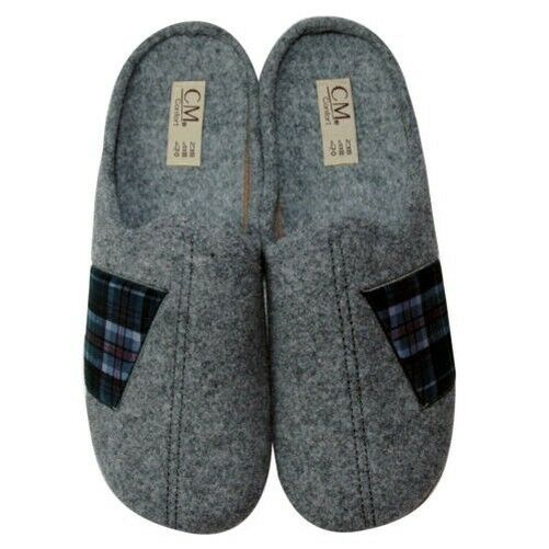 Calzamur Men's Slippers 67700132, Grey with Lateral Check Pattern