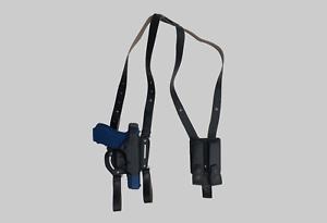 KHS340-7 Cuero de hombro y cinturón pistolera final abierto con doble bolsa del Mag Glock 17