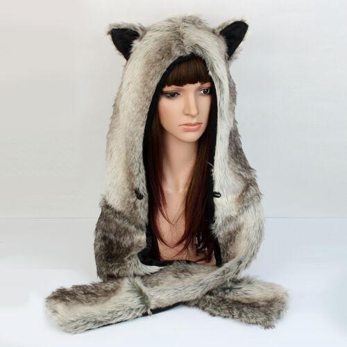 Pocket Gloves Trendy Brown Wolf Hood Hoodie Fur Hat Scarf Mittens
