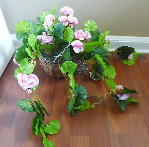 Pink Begonia Artificial Flowers Hanging Basket Plantswith Basket