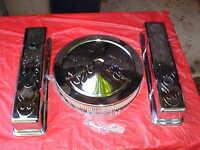 Tall Chrome Flamed Valve Cover & Air Cleaner Kit For Chevrolet,,rat Rod,283-350