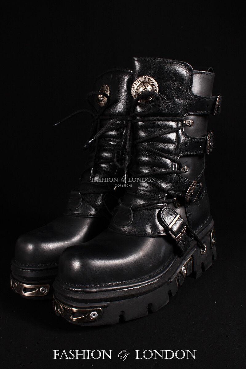 Unisex New Rock 373-S4 metallico nero pelle goth cyber punk emo biker stivali