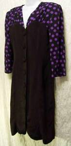 POLKA-DOT-Sleeves-Vintage-BLACK-1980-Button-Up-Executive-JOHN-ROBERTS-Dress-16